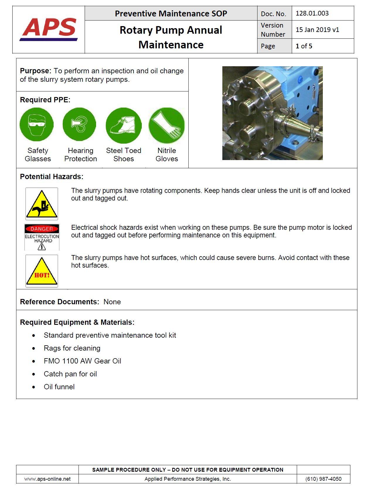 Preventive Maintenance (PM) Procedure Writing Services - APS